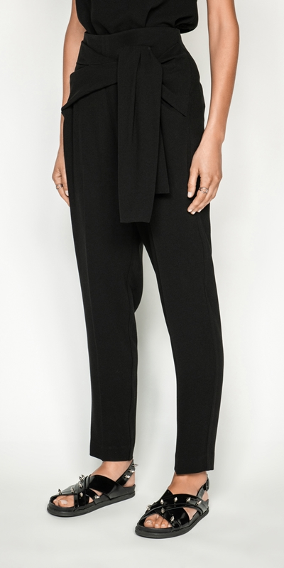 Wear to Work  | Crepe Tie Front Tapered Pant