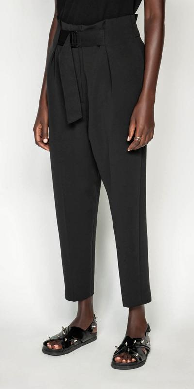 Pants  | Belted Crepe Paper Bag Pant
