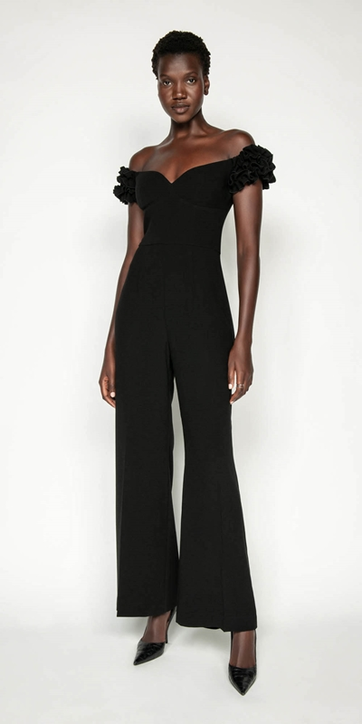 Pants | Crepe Ruffle Sleeve Jumpsuit