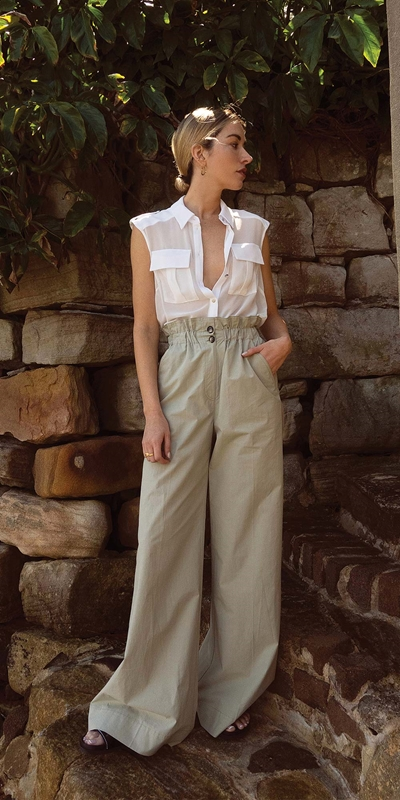 Sale  | Button Front Wide Leg Pant