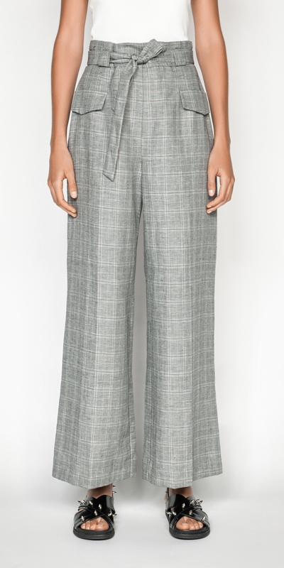 Pants | Linen Check Wide Leg Pant