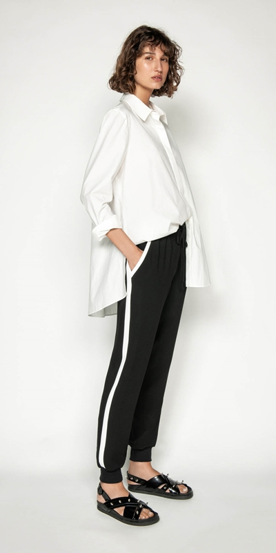 Pants | Crepe Striped Track Pant