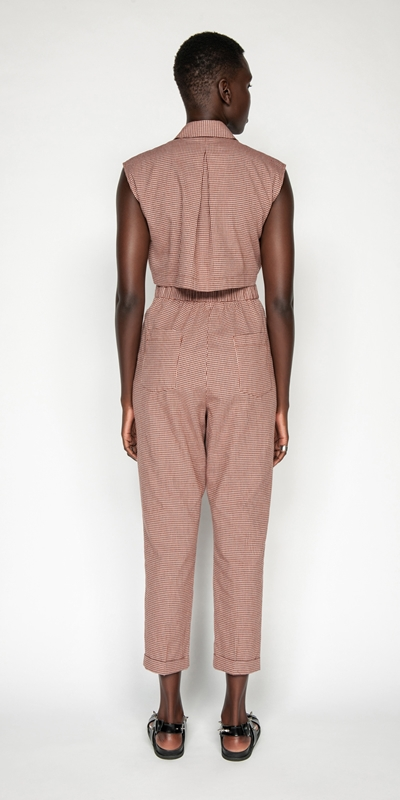 Jumpsuits | Cotton Linen Mini Check Jumpsuit