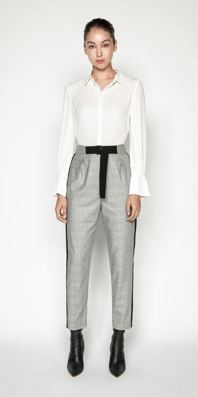 Pants | Houndstooth Check Striped Trouser
