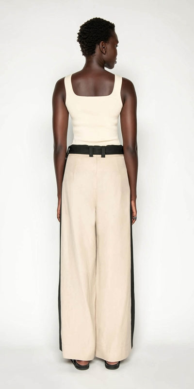 Pants | Sand Linen Blend Trouser