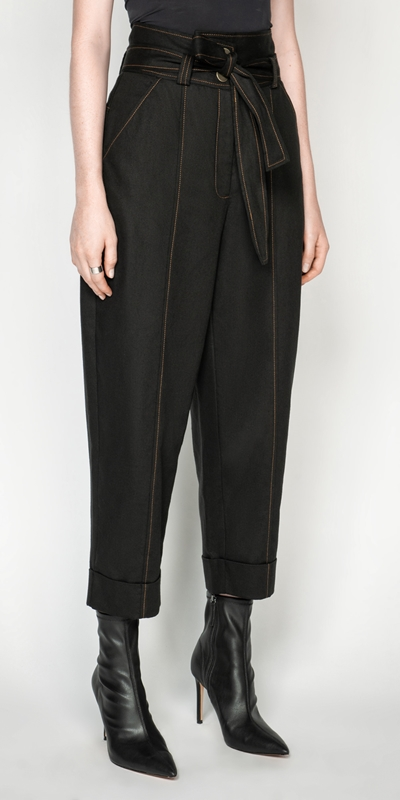 Pants | Topstitched Cotton Blend Tapered Pant