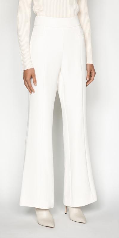 Pants | Ecru Crepe Trouser