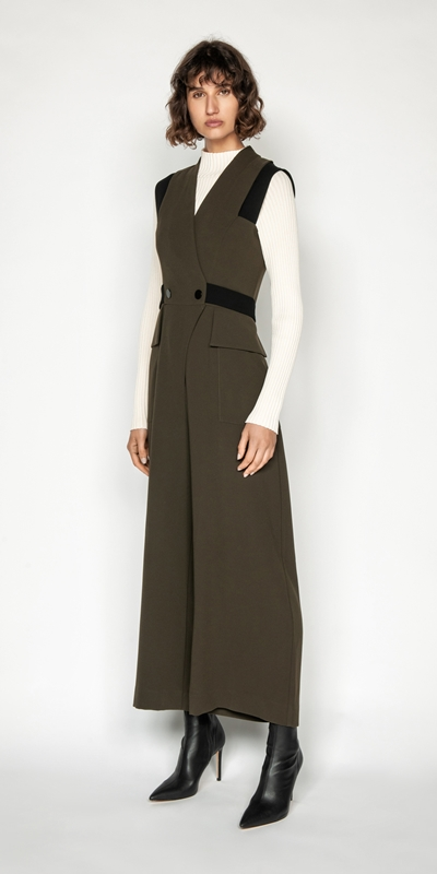 New Arrivals | Khaki Wrap Front Jumpsuit