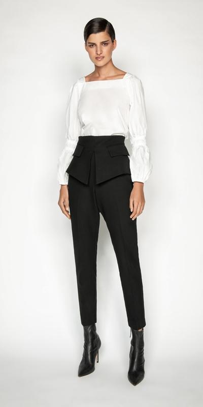 Pants | Cotton Twill Peplum Skinny Pant