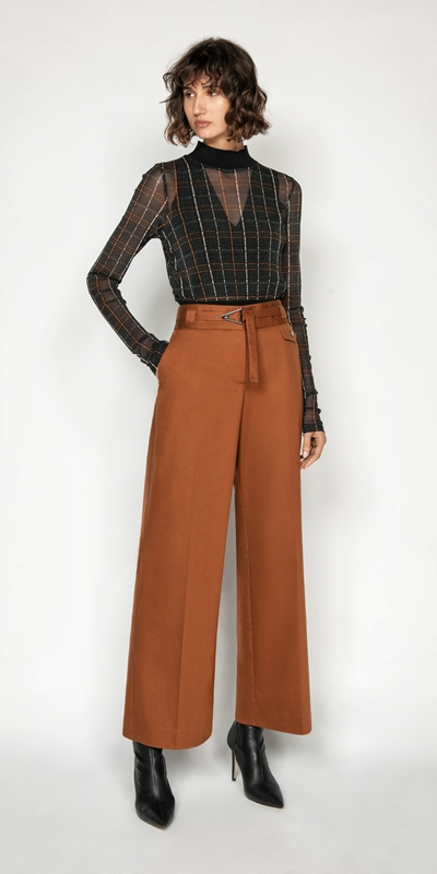 Pants | Belted Cotton Wide Leg Pant
