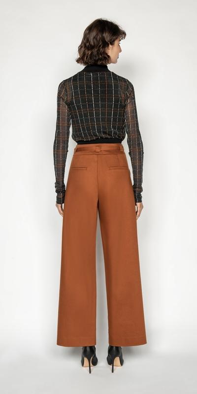 Pants   Belted Cotton Wide Leg Pant