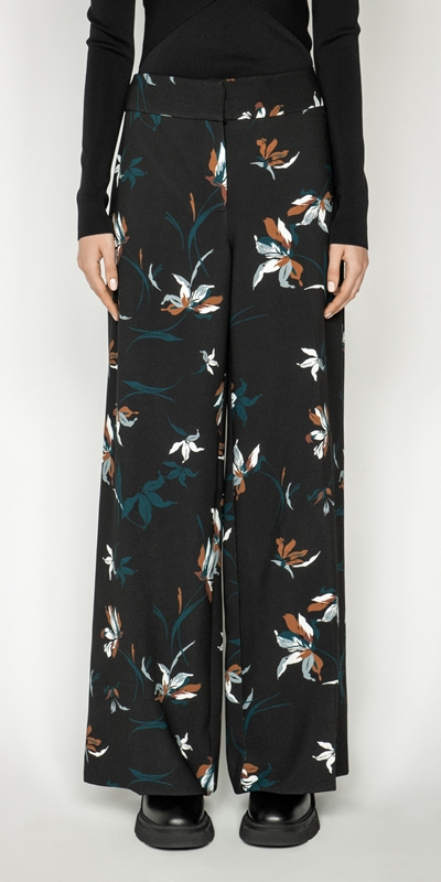 Pants | Floral Wide Leg Pant