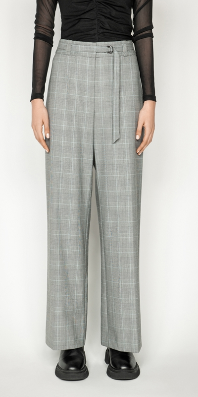 Sale  | Check Belted Wide Leg Pant