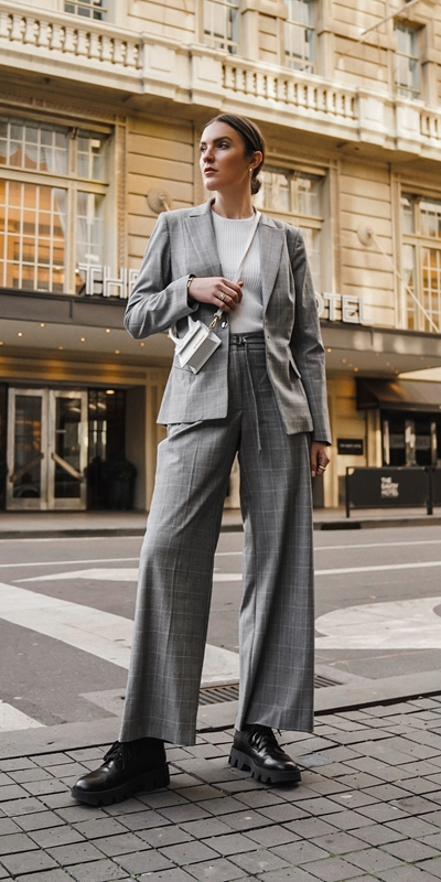 Pants | Check Belted Wide Leg Pant