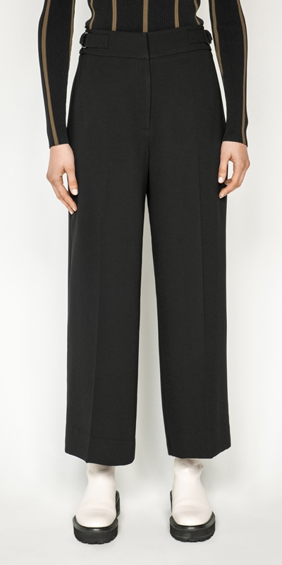 Pants  | Crepe Buckled Waist Wide Leg Pant