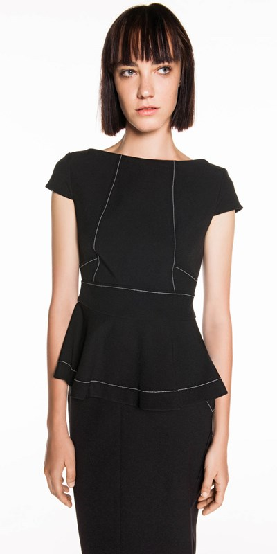 Tops  | Topstitched Peplum Top