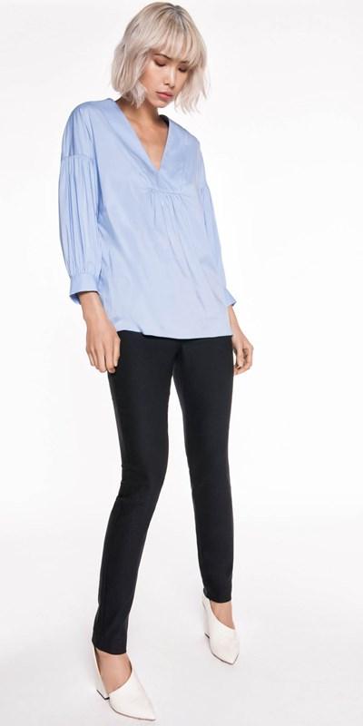Sale  | Powder Blue Gathered Sleeve Top