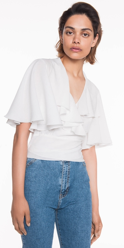 Tops  | Textured Georgette Frill Wrap Top