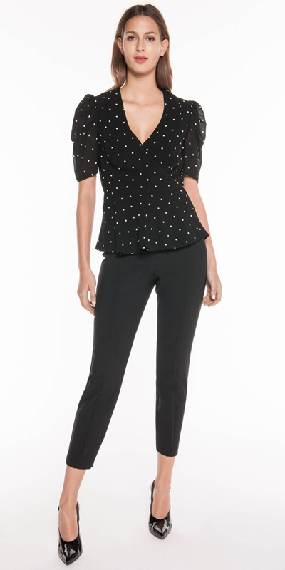 Tops | Drapey Spot Wrap Top