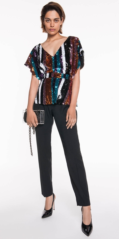 The Party Edit | Multi Stripe Sequin Top