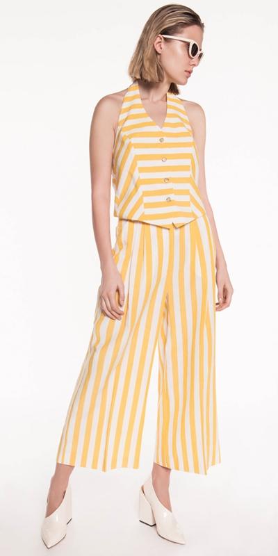 Tops | Linen Stripe Waistcoat