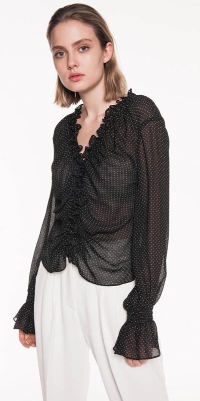 Tops | Spot Jacquard Long Sleeve Top