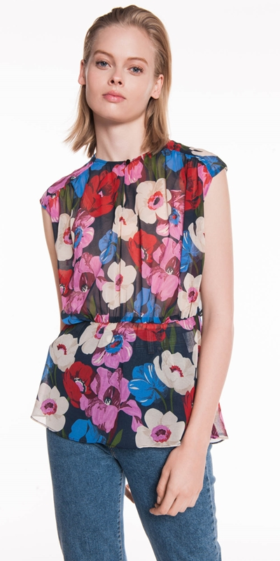 Tops  | Bright Poppy Georgette Top