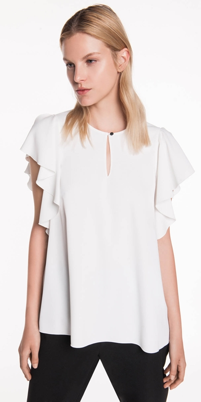 Sale  | Drapey Crepe Frilled Swing Top