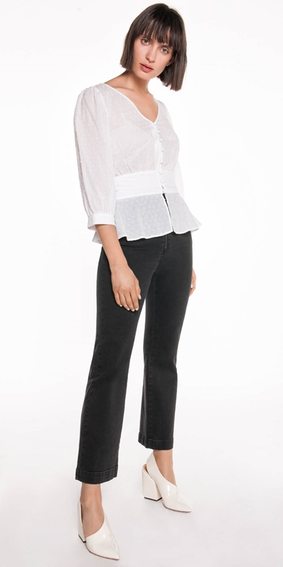 Tops  | Stripe Voile Button Front Top