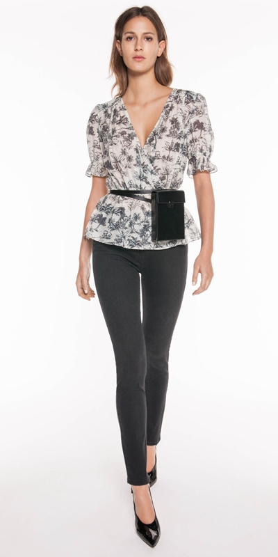 Tops  | Tropical Toile Wrap Top