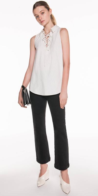 Sale | Textured Stripe Pleat Top