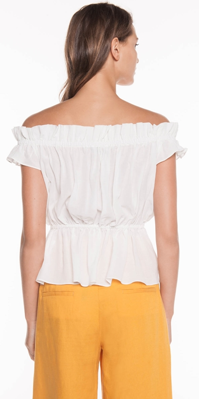 Tops | Cotton Voile Off the Shoulder Top