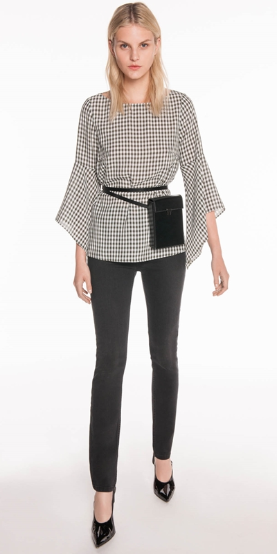 Tops  | Gingham Fluted Sleeve Top