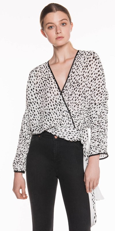 Tops  | Pleated Spot Chiffon Wrap Top