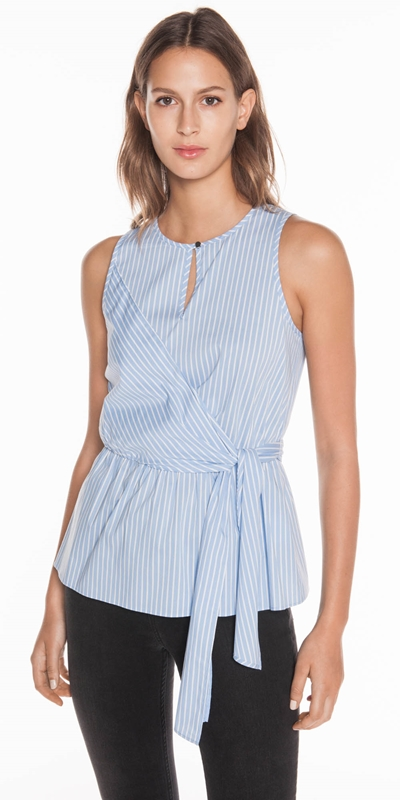 Tops  | Cotton Stripe Tie Top