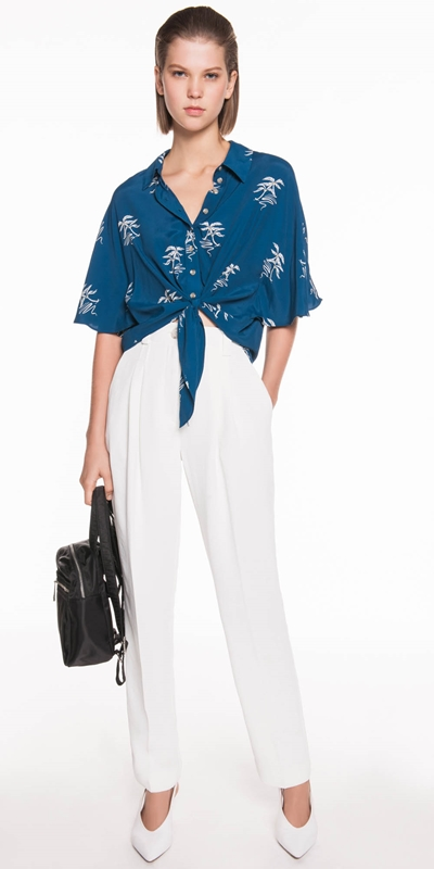 Tops  | Island Palm Cropped Shirt