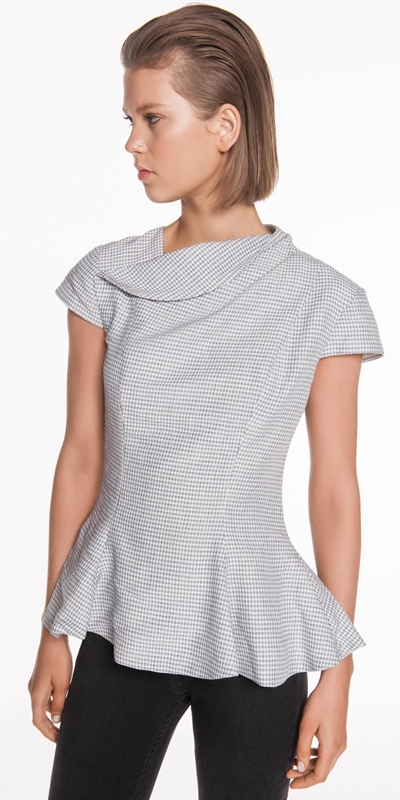 Wear to Work  | Linen Mini Check Top