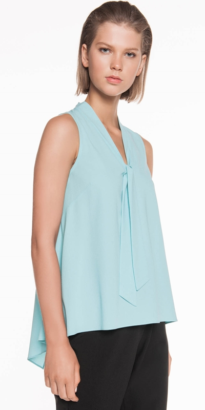 Tops | Crepe Neck Tie Top