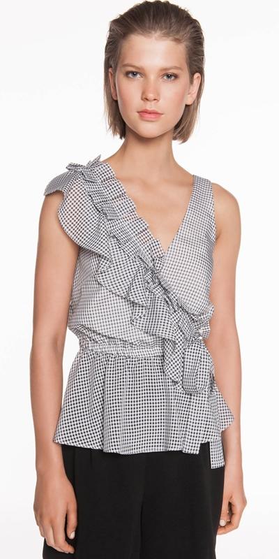 Tops | Mini Gingham Frilled Top