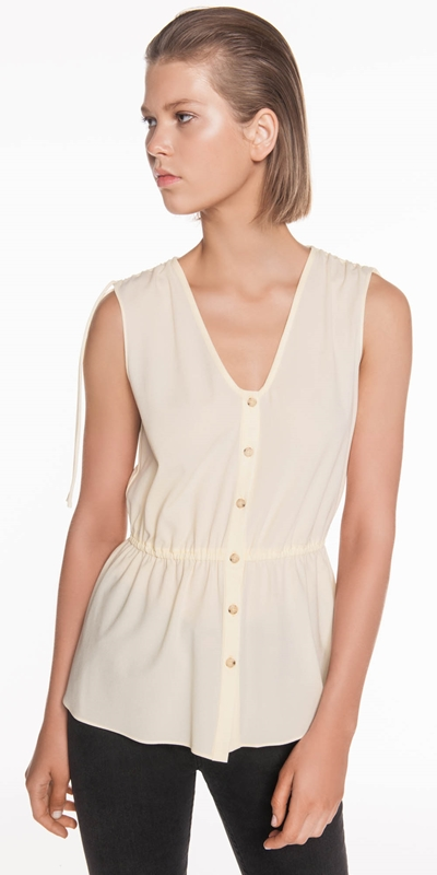 Tops | Crepe Button Front Top
