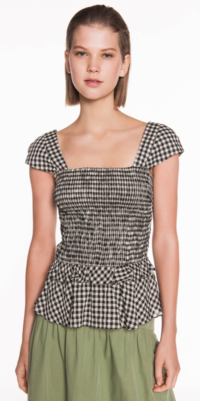 Dresses | Gingham Voile Shirred Top