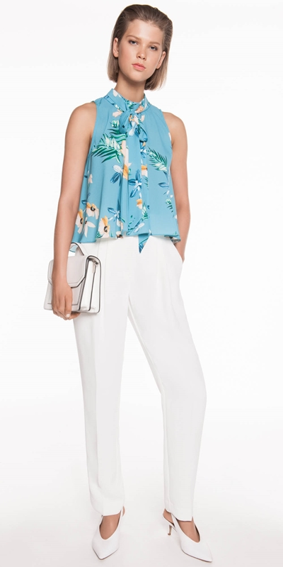 Tops | Daisy Palm Tie Neck Top