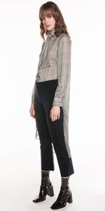 Tops | Check Chiffon Victorian Blouse
