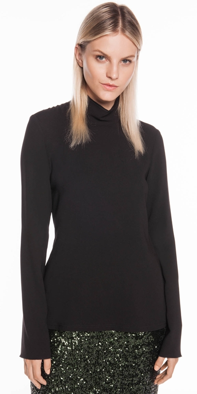 Tops  | Triacetate Fitted Long Sleeve Top