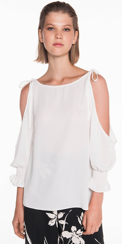 Tops  | Textured Georgette Shoulder Tie Top