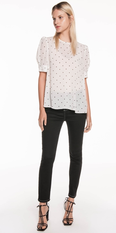 Sale | Sheer Spot Tuck Sleeve Top