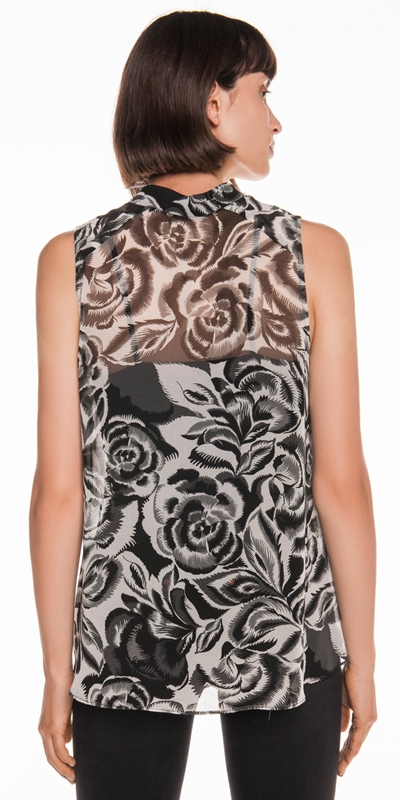Tops | Abstract Floral Tie Neck Top