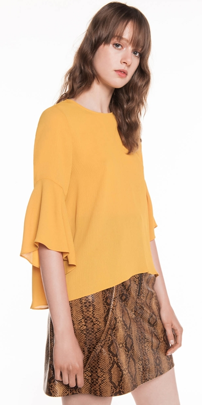 Made in Australia | Crinkle Georgette Fluted Sleeve Top