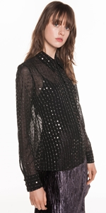 Tops | Lurex Sequin Chiffon Blouse