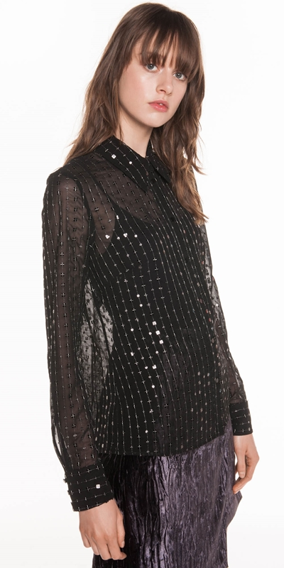 Made in Australia | Lurex Sequin Chiffon Blouse